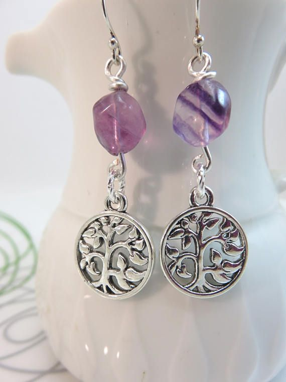 tree of life earrings  silver tree charm by GonzalezGoodies