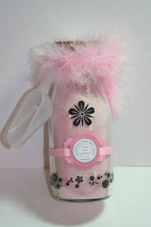 Altered Frappuccino Bottles, Ladies Gift Idea Fill with Bath Salts, Strawberry Quick used here, Rub-on's on the bottle - quick and simple