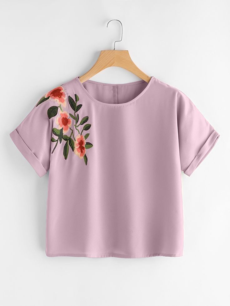 Shop Flower Embroidered Cuffed Sleeve Top online. SheIn offers Flower Embroidered Cuffed Sleeve Top & more to fit your fashionable needs.