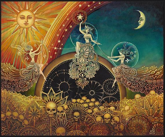 The Three Fates (Moirai) - An original painting by Emily Balivet, 2014.. Oil Painting on 20 x 24 x 1.75 gallery wrapped canvas