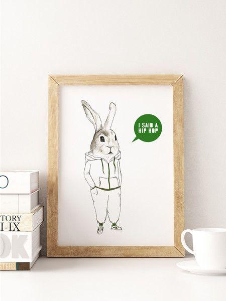 """Weiteres - A5 Print Spruch """"i said a hip hop"""" - ein Designerstück von Beiderhase bei DaWanda #quote #spruch #hase #bunny #bild #geschenk #deko #print #words #hiphop"""