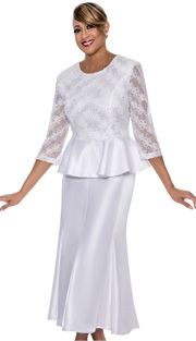 Dorinda Clark Cole 492-WH-IH ( 2pc Lace With Shimmer Shantung Womens Church Suit With Sequin Embellished Floral Pattern Peplum Top And Long Skirt ),Dorinda Clark Cole Fall And Holiday Suits 2017