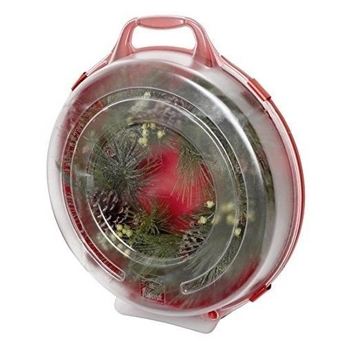 Wreath Storage Box Christmas 24in Clear Lid Hang Stack Stand Handle 3 Pk Red #OnlineDealsByPat