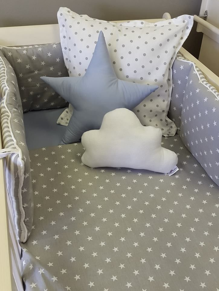 Our combination of #Spots and #Stars in #GreyandWhite is perfect for any #BabyBoy or #BabyGirl, great for a #NeutralNursery!   #BabyBedding #BabyLinen