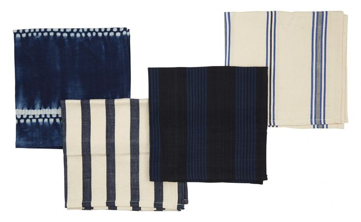 """Our Stripe Napkins are handmade in a West African workshop that aims to create long-lasting employment for local artisans. Using traditional methods, each napkin is crafted from hand-spun cotton which is then hand woven and dyed in combinations cream, indigo, navy and black to create pleasing striped motifs. Choose one pattern or mix and match all four to create your own eclectic set of linens.         •18.5"""" x 19""""  •cotton  •hand spun, woven and dyed  •west africa"""