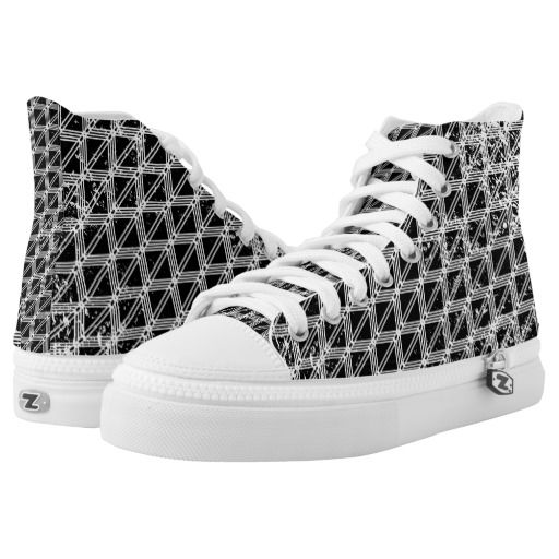 Black And White Geometric Pattern High-Top Sneakers by earlykirky