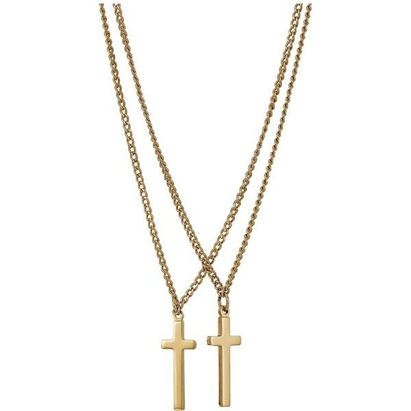 DSQUARED2 Double Cross Necklace (Gold) Necklace ($130) ❤ liked on Polyvore featuring men's fashion, men's jewelry, men's necklaces, mens gold chain necklace, mens pendant necklace, mens chain necklace, mens cross necklace and mens yellow gold cross necklace