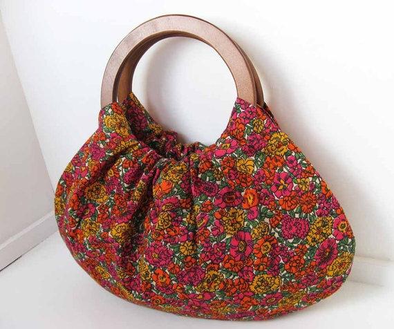 Garden Blooms Handbag with Wood Handles  Handmade by spongetta, $36.00
