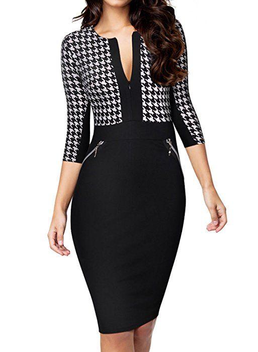 a79d4d09667e MIUSOL Vintage Donna Vestito Manica 3 4 Coctel Abito Da Sera  Amazon.it   Abbigliamento