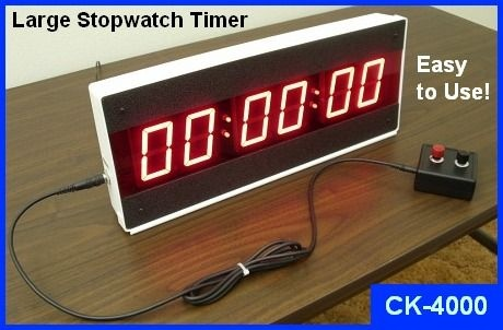 CK-4000 LED Large Digital Stopwatch Timer by Electronics USA counts up, and displays Minutes, Seconds, and Hundredths of Seconds.  Designed and assembled in the USA.