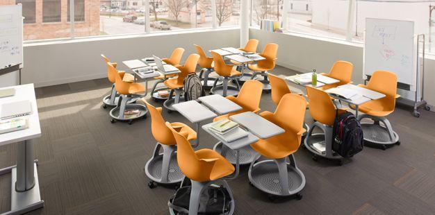 Steelcase/IDEO school desks - storage underneath, swivel chair capabilities, easily configurable.