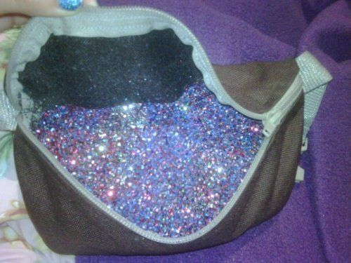 "Fanny pack filled with glitter...this is too awesome. Probably more for the more ""adult"" themed festivals than one with the kids (because space/storage will be essential) when traveling with kids!"
