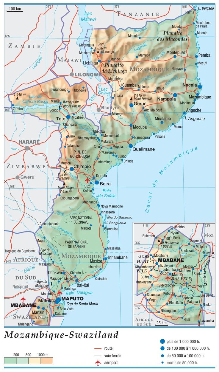 Mozambique. État d'Afrique australe, le Mozambique est baigné à l'est par l'océan... Swaziland. État d'Afrique australe, le Swaziland forme une enclave dans le...