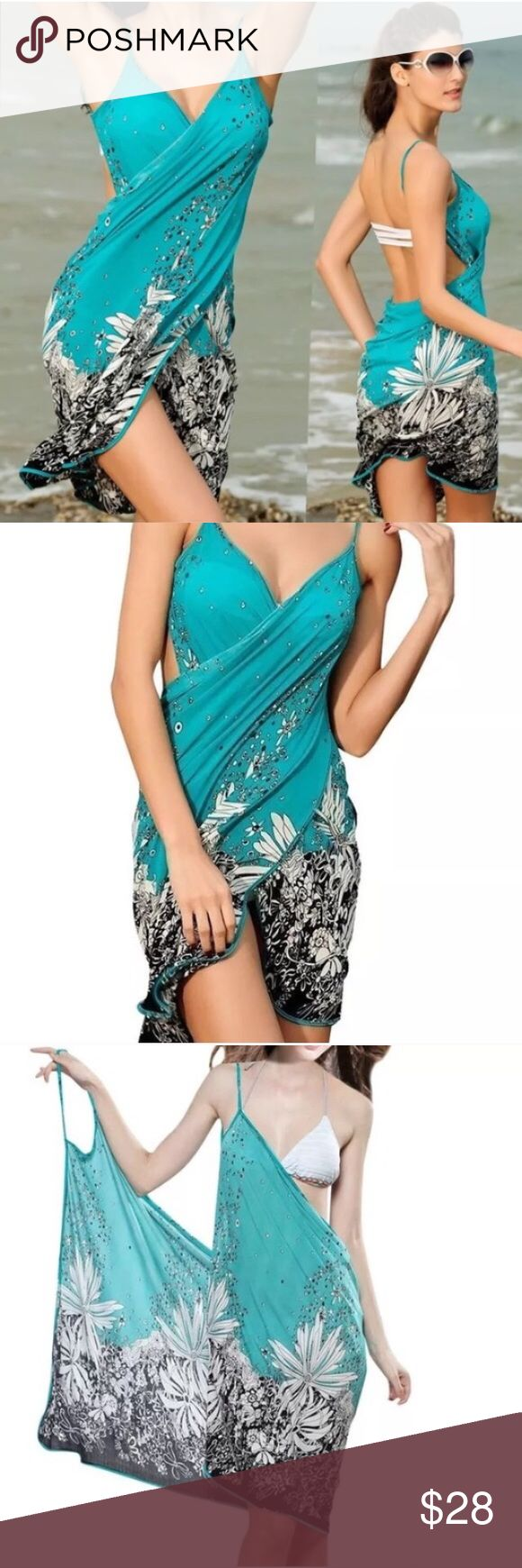 "BRACH WRAP cover up SWIM WEAR bathing suit sarong Resort wear cover up for all your summer needs. Poolside, beach, cruising or just relaxing, this light weight body sarong is both pretty and functional. Great for Travel! Has stretch. About 35"" long when in wrap formation. (Ju28) Swim Coverups"