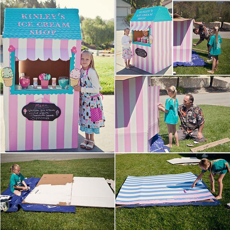 How To Make a Cardboard Ice Cream Shop or lemonade stand