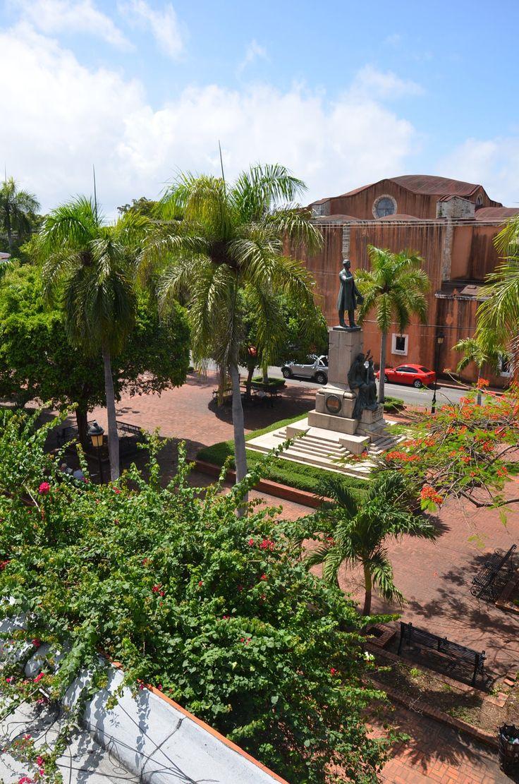 Juan Pablo Duarte's statue from the rooftop of the Elmudesi building, Santo Domingo | Dominican Republic