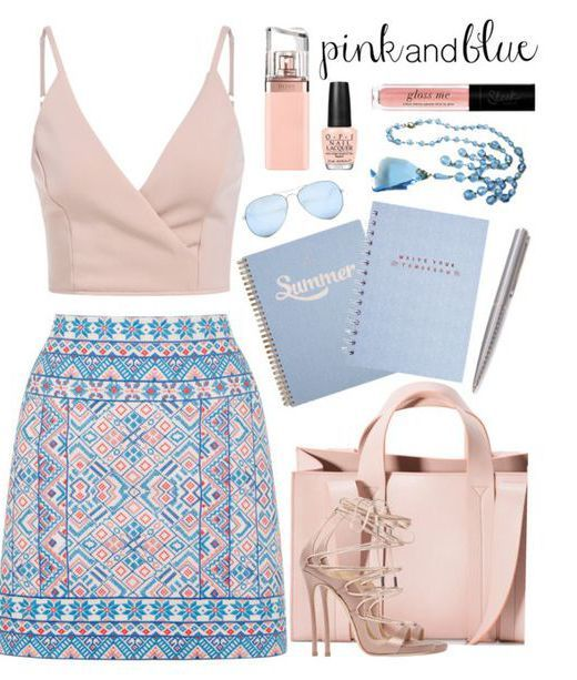10 Super Cute Skirt Outfit Ideas You Can Try: #6. Pastel Patterned A Line Mini Skirt