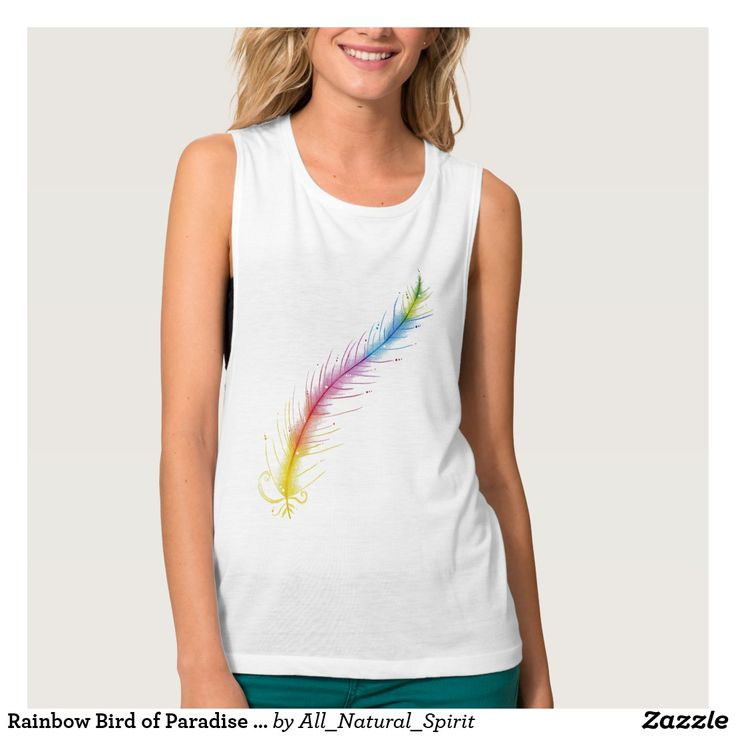Set Your Spirit Free with this Rainbow Bird of Paradise Feather Tee for Ladies! See more @ https://www.zazzle.com/z/y1i2i?rf=238562247198752459 #Fashion #Style #Rainbow #Art #colourpencilart #tshirt #tee #tops #women #clothing