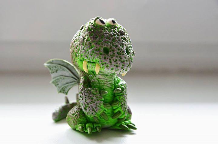 Eva Ryšková - figurka draka z polymerové hmoty podle workshopu od Alessio Busanca