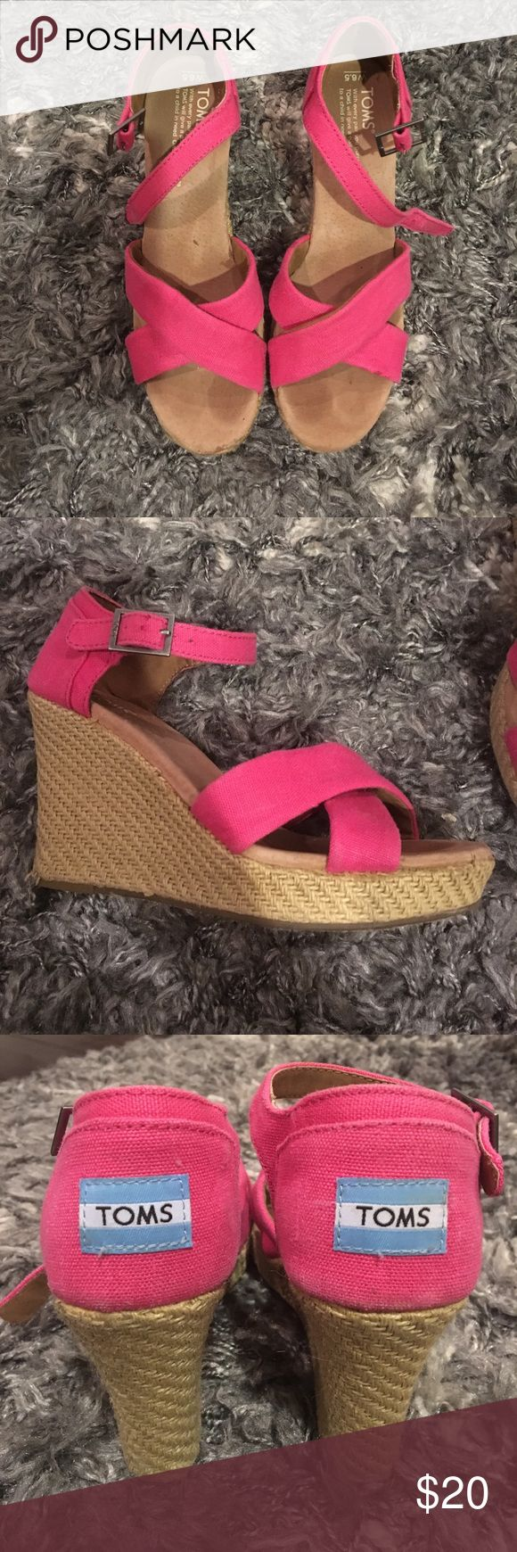 Pink Toms Strappy Wedges Size 6.5 In great condition. Only worn 3-4 times. There is some discoloration (see 4th photo) on the straw part of the wedge but that's the glue holding the straw together Toms Shoes Espadrilles