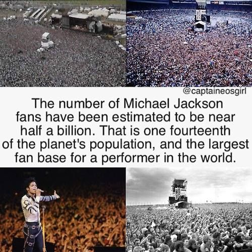 The number of Michael Jackson fans have been estimated to be near half a billion. That is one fourteenth of the planet's population, and the largest fan base for a performer in the world.