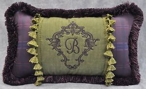 Personalized Embroidered Pillow Made w Ralph Lauren Rutherford Park Green Fabric | eBay