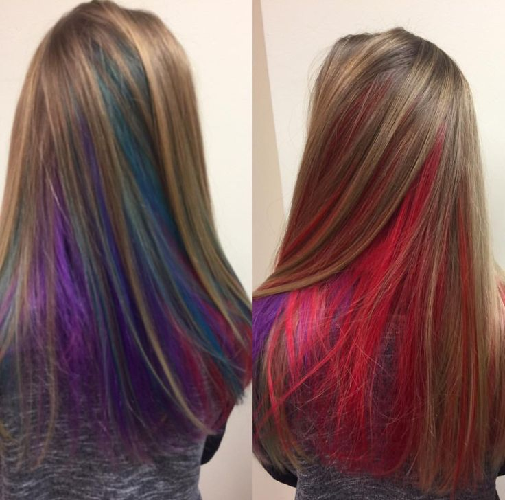 Hidden Rainbow Hair Underlights Hair Fashion Color Using