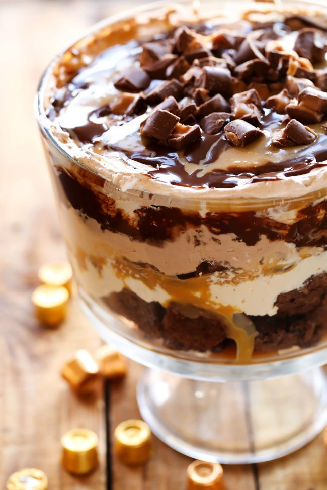 This dessert is so incredibly rich and delicious! This is the ultimate chocolate-caramel treat. With layers of ROLO brownies, caramel mousse, gooey caramel, chocolate mousse, chocolate sauce and ROLOS, this trifle is sure to be a show stopper wherever it goes! I LOVE trifles for so many different reasons. They are complete show stoppers in …
