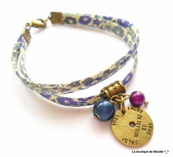"""Bracelet biais Liberty fin """"détecteur de mensonge""""  http://www.alittlemarket.com/boutique/micotte-205207.html"""