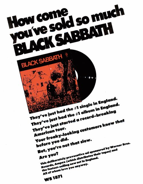 Black Sabbath 1970 Vintage Record Advertising Black