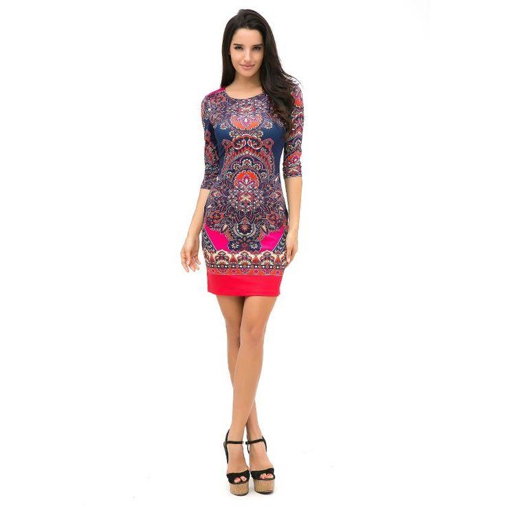 Vestido Boemio Estampado Indiano Floral Abstrato Vermelho