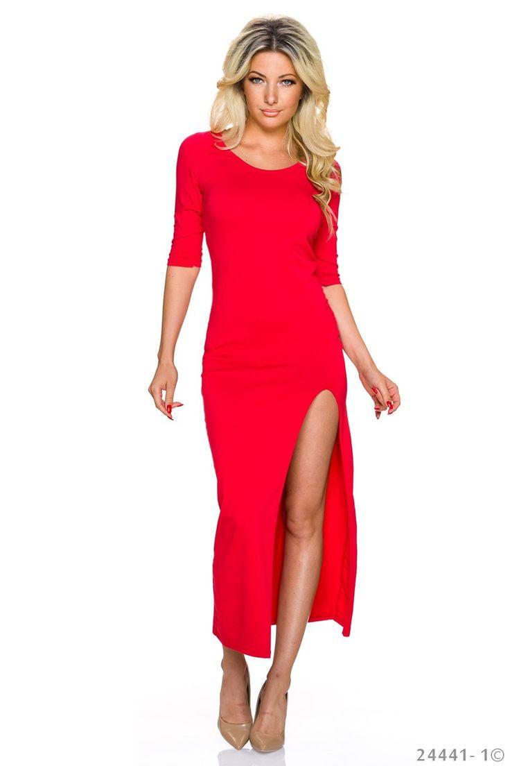 Rochie Fashion Style Red. Rochie de vara, din bumbac elastic, despicata pe un…