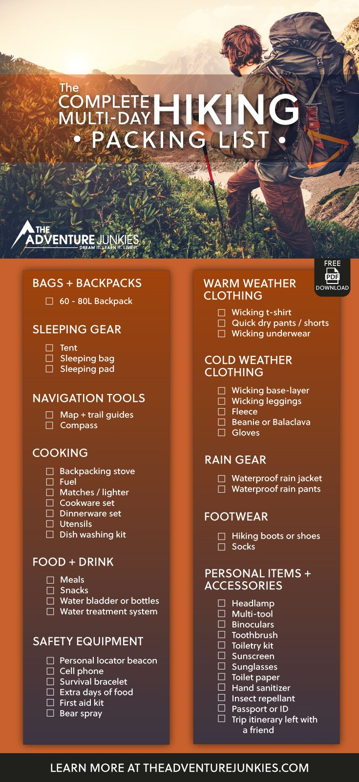 The Ultimate Hiking Packing List with a PDF Download – Best Hiking Gear For Beginners – Backpacking Gadgets – Hiking Equipment List for Women, Men and Kids