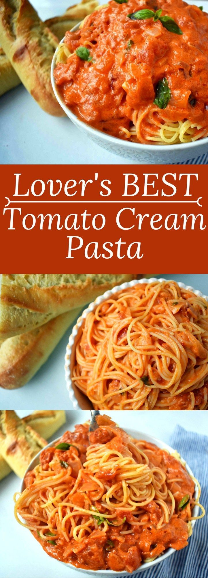 Lover's BEST EVER Tomato Cream Pasta. Homemade marinara sauce with cream and fresh basil. www.modernhoney.com