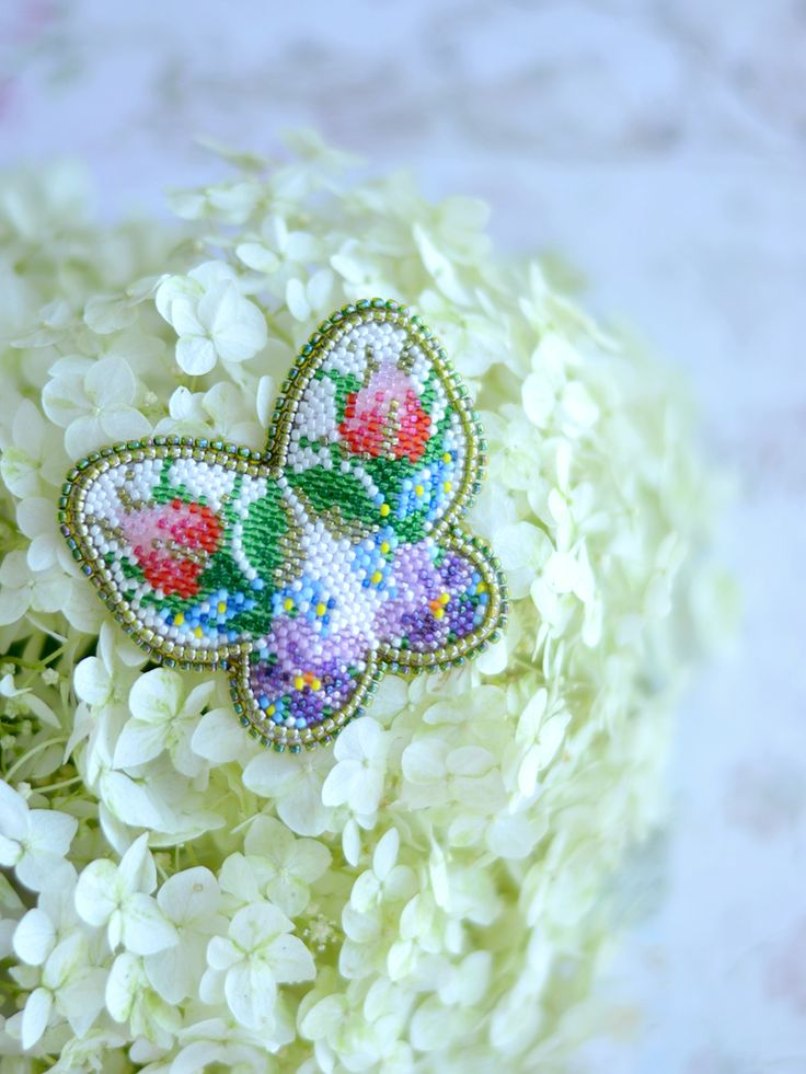 Beadwork Butterfly Brooch Beaded Brooch Butterfly Summer Bouquet Embroidery Brooch Floral Handmade jewelry Bead Embroidery Flowers Вышивка Бисером Брошь Бабочка Брошь Жук