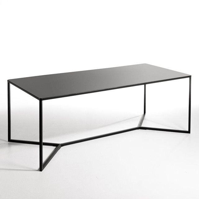 Een dik metaal van heel mooie kwaliteit, duurzaam, een mooie matte afwerking voor deze tafel met een hedendaagse elegantie. Afmetingen :  B.200 x D.90 x H.75 cm.