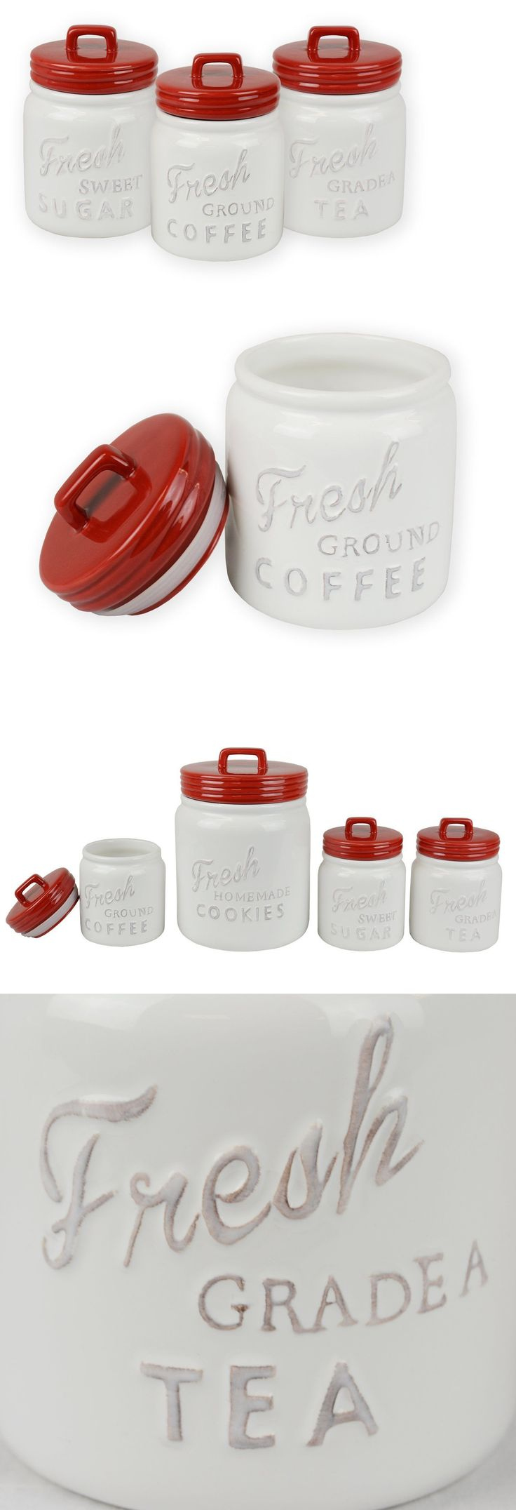 Tuscan old world drake design medium berry kitchen canisters set of 3 - Canisters And Jars 20654 Farmhouse Kitchen Ceramic Canisters Mason Jar Style Jars 3 Piece Red