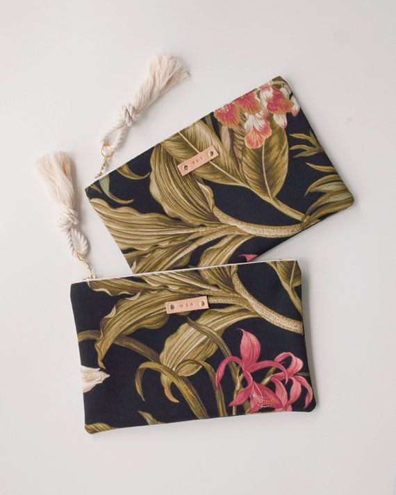 Black Tropical Zipper Pouch Monogram Makeup by theAtlanticOcean