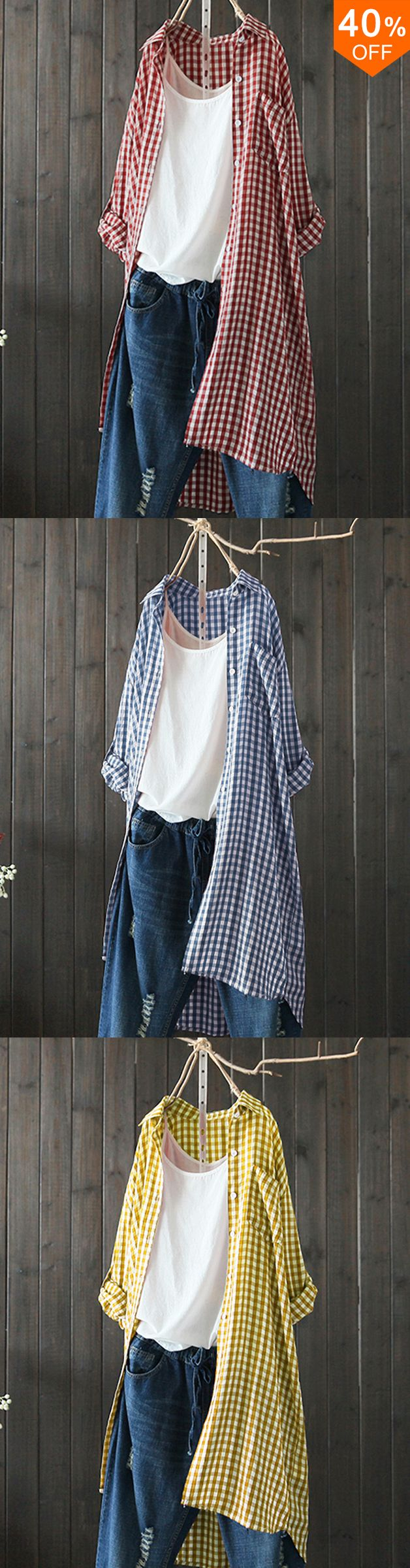 Amazing Up to 40% off&Free shipping.Casual Women Turn Down Collar Plaid Button Long Slee…