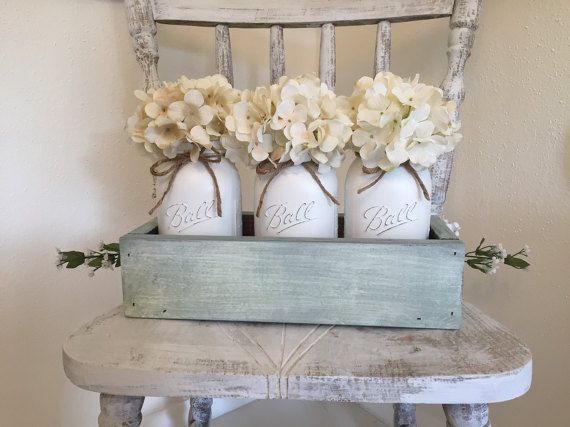 Sage Mason Jar Centerpiece! Spring Floral included, Shabby Chic, Distressed wood…