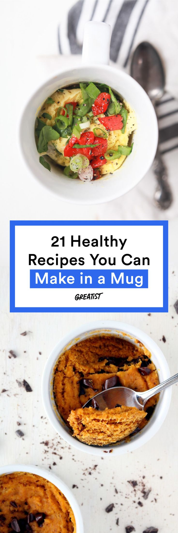 21 Healthy Meals (and Desserts) You Can Make in a Mug | Put that average mug brownie to shame.  #healthy #meals http://greatist.com/eat/healthy-mug-recipes