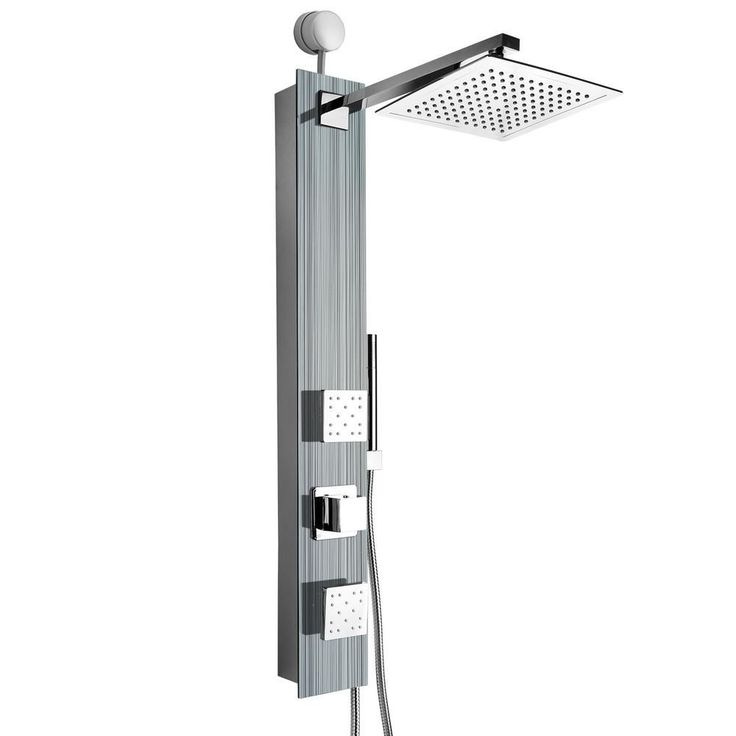 2jet easy connect shower panel system in silver tempered glass