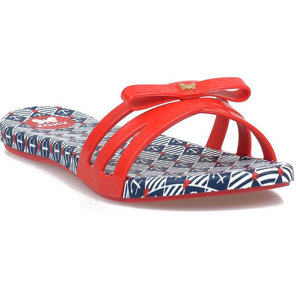 Red & Blue Nautical Anchor Slip on Jelly Sandals ($19) ❤ liked on Polyvore featuring shoes, sandals, red, blue slip on shoes, nautical shoes, anchor sandals, red slip on shoes and blue jelly shoes