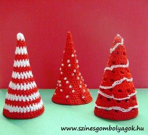 Horgolt karácsonyfák