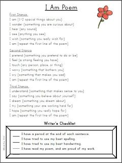 """I Am"" Poem outline (template available on the blog link) - This has been a WONDERFUL writing activity to do with my students over the years. It is successful with first graders (the first paragraph works best) and fourth graders!"