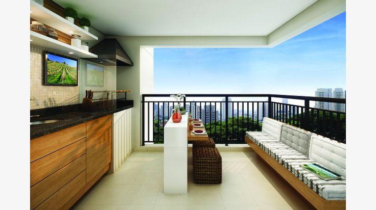 Terraço do apto de 68 m² c/ churrasqueira e pia.
