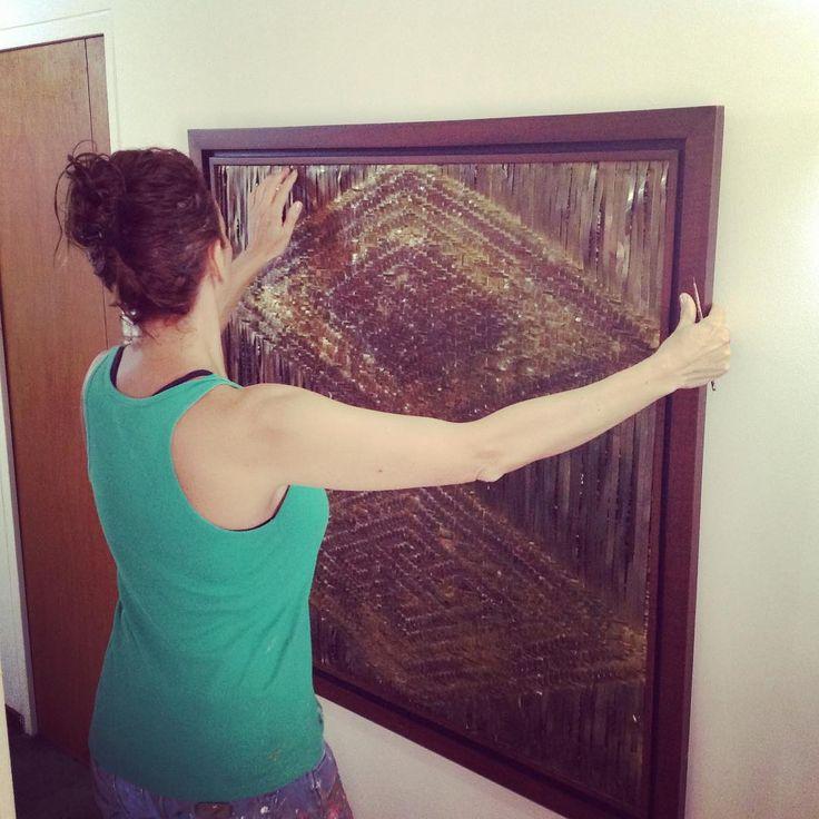Colgando mi #cuadro Hilos de bronce tejidos.