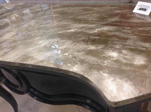 Custom Rose Gold Leaf And Glass Countertop Available