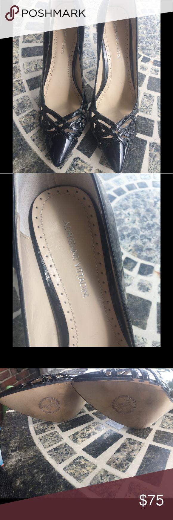 """Adrienne Vittadini Black patent leather heels Adrienne Vittadini size 7 black patent leather shoes. Only worn twice! 3.5"""" heel. Adrienne Vittadini Shoes Heels"""