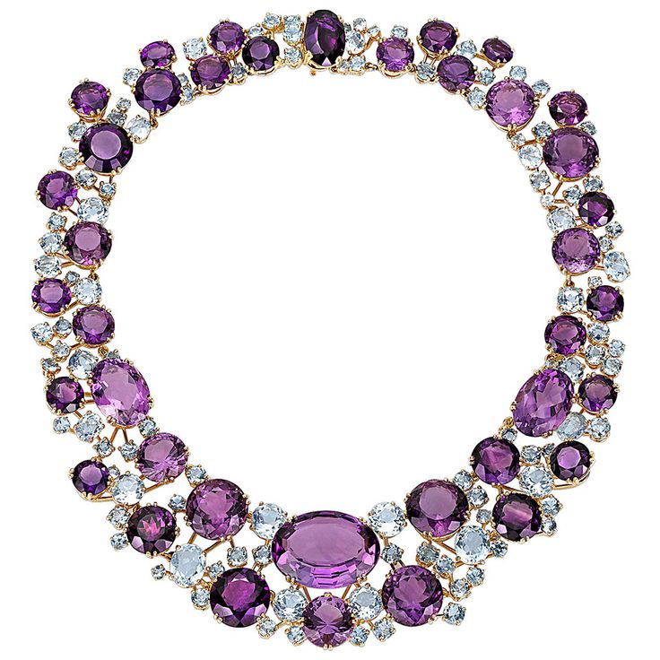 Verdura Amethyst Aquamarine Gold Necklace | From a unique collection of vintage more necklaces at https://www.1stdibs.com/jewelry/necklaces/more-necklaces/